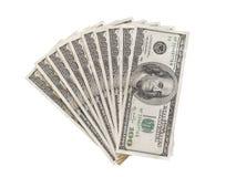 La fan de 100 billets d'un dollar a isolé la vue supérieure Images stock