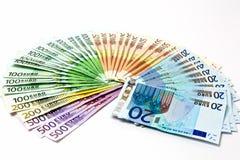 La fan del dinero del diverso euro carga en cuenta 500 200 100 50 20 Foto de archivo libre de regalías