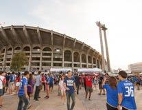 La fan thaïlandaise attendaient le match de football Image libre de droits