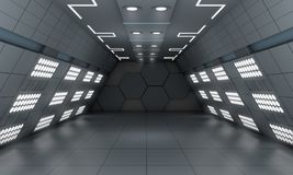 La fantascienza futura moderna astuta del fondo ha condotto la stanza leggera, grigio scuro illustrazione di stock