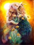 La fantasia elven il ritratto leggiadramente dell'uomo con il dente di leone, variopinto Fotografia Stock