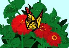 La farfalla ed i fiori illustrazione vettoriale