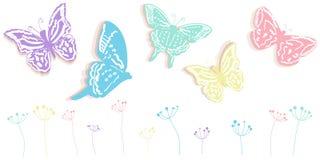La farfalla ed i fiori sottraggono il fondo di vettore dell'insegna di tempo di molla Fotografia Stock