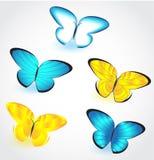 La farfalla ha isolato l'insieme Vettore Immagini Stock