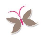 La farfalla traversa Logo Symbol volando nel marrone e nel rosa Immagini Stock