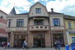 La farmacia central en Khust, Ucrania el 3 de mayo de 2016 Foto de archivo