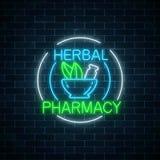 La farmacia di erbe al neon firma dentro le strutture del cerchio sul fondo scuro del muro di mattoni un deposito naturale di 100 Immagini Stock Libere da Diritti