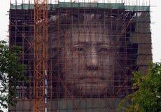 La fase final de construcción de la estatua gigante de la juventud Mao Zedong en isla anaranjada en Changsha Fotos de archivo