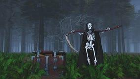La faucheuse au cimetière la nuit Photos stock