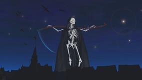 La faucheuse au cimetière la nuit illustration stock