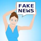 La fausse femme d'actualités veut dire l'illustration alternative des faits 3d Photos libres de droits