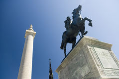 La Fayette Statue. View of the La Fayette statue in Mt. Vernon place in Baltimore Stock Photography