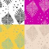 La felce botanica senza cuciture quattro modella la natura illustrazione di stock