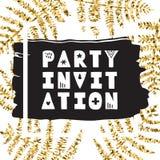 La felce lascia l'inchiostro & l'oro vettore disegnato a mano Invito del partito Fotografie Stock Libere da Diritti