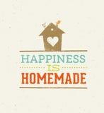 La felicidad es cita hecha en casa Concepto caprichoso del cartel de la tipografía del vector de la casa Fotografía de archivo libre de regalías