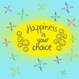 La felicidad es su mano bien escogida de la motivación escrita el guote Foto de archivo
