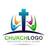La felicidad que gana del icono del logotipo de la unión de la gente de la iglesia del mundo del globo ama junta símbolo de la sa ilustración del vector
