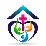La felicidad que gana del icono del logotipo de la unión de la gente de la iglesia del mundo del globo ama junta símbolo de la sa stock de ilustración