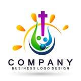 La felicidad que gana del icono del logotipo de la unión de la gente de la iglesia del mundo del globo ama junta símbolo de la sa libre illustration