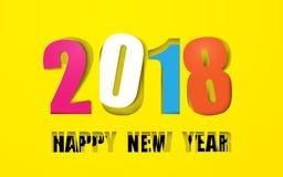 La Feliz Año Nuevo colorida 2018 en papel cortó el fondo stock de ilustración