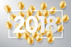 La Feliz Año Nuevo 2018 con los globos del oro y el marco cuadrado, celebra el concepto, ejemplo del vector Fotos de archivo libres de regalías