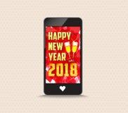 La Feliz Año Nuevo 2018 con los vidrios llama por teléfono a la tarjeta de felicitación Fotos de archivo