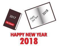 La Feliz Año Nuevo 2018 con un nuevo libro abre el libro 2017 cerrado foto de archivo libre de regalías