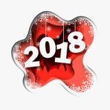 La Feliz Año Nuevo 2018 3d resume el ejemplo del corte del papel del árbol, nieve en la noche stock de ilustración