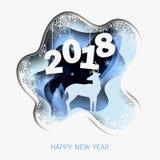 La Feliz Año Nuevo 2018 3d resume el ejemplo del corte del papel de los ciervos, árbol, nieve en la noche ilustración del vector
