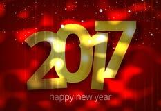 La Feliz Año Nuevo 2017 3D rinde rojo de oro ilustración del vector