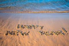 La Feliz Año Nuevo de la inscripción Foto de archivo libre de regalías