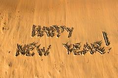 La Feliz Año Nuevo de la inscripción Imágenes de archivo libres de regalías