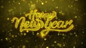 La Feliz Año Nuevo desea la tarjeta de felicitaciones, invitación, fuego artificial de la celebración colocado