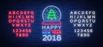 La Feliz Año Nuevo 2018 es una señal de neón El símbolo de neón para su ` s del Año Nuevo proyecta Fotografía de archivo libre de regalías