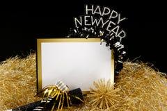 La Feliz Año Nuevo firma adentro negro y el oro Imagen de archivo
