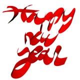 La Feliz Año Nuevo redacta manuscrito en el ejemplo rojo 3D aislado ilustración del vector