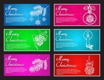 La Feliz Año Nuevo y la Feliz Navidad vector el sistema horizontal de la bandera con la bola, el juguete, el cono, la rama y la v Imagen de archivo