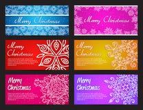La Feliz Año Nuevo y la Feliz Navidad vector el sistema horizontal de la bandera con los copos de nieve Fotografía de archivo
