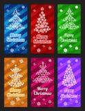 La Feliz Año Nuevo y la Feliz Navidad vector la vertical de la bandera fijada con el pino del copo de nieve del ornamento Imagenes de archivo