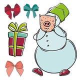 La Feliz Navidad aisló el vector fijado con el muñeco de nieve con la máscara, el arco y los regalos del cerdo stock de ilustración