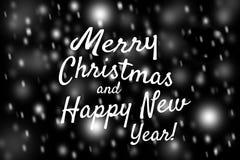 La Feliz Navidad de la tarjeta festiva y la Feliz Año Nuevo empañan la foto de colores claros Defocused de los puntos del fondo d Imágenes de archivo libres de regalías