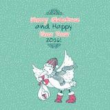 La Feliz Navidad del vintage garabatea la tarjeta con el pájaro y el bebé de la cigüeña Imagen de archivo libre de regalías