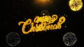 La Feliz Navidad desea la tarjeta de felicitaciones, invitación, fuego artificial de la celebración colocado