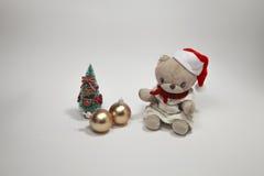 La Feliz Navidad linda del oso de peluche Imagen de archivo libre de regalías