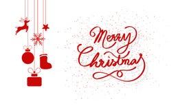 La Feliz Navidad, puntos dispersa con el reno de la ejecución, el regalo y la decoración de los copos de nieve, celebración mínim libre illustration