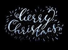 La Feliz Navidad texturizó la inscripción caligráfica manuscrita en un fondo negro Ilustración del vector Fotos de archivo