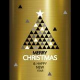 La Feliz Navidad y la Feliz Año Nuevo diseñan en el metal del oro Imágenes de archivo libres de regalías