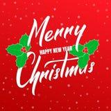 La Feliz Navidad y la Feliz Año Nuevo mandan un SMS a diseño de letras Tarjeta de la Navidad y del Año Nuevo con caligrafía y el  Foto de archivo libre de regalías