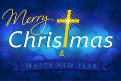 La Feliz Navidad y la Feliz Año Nuevo cardan el azul Fotos de archivo libres de regalías