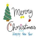 La Feliz Navidad y la Feliz Año Nuevo redactan el ejemplo Imagenes de archivo